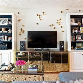 Mirrored TV Credenza With Motorized Bar