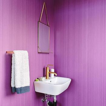 Grasscloth in powder rooms contemporary bathroom for Purple and gold bathroom ideas
