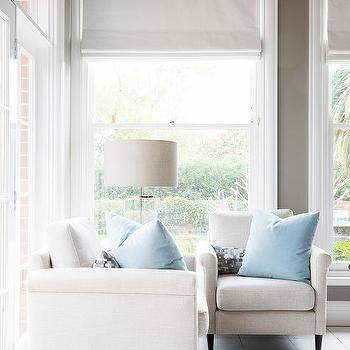 White Roll Arm Chairs With Sky Blue Pillows View Full Size A Gray Painted Living Room