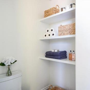 Stacked Floating Wood Bathroom Shelves Design Ideas