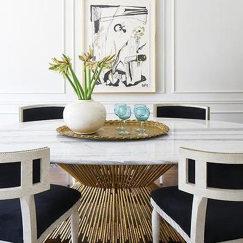 Oval Brass And Marble Dining Table