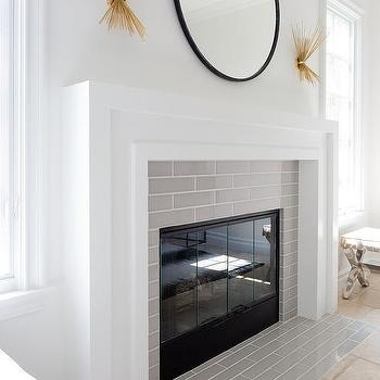 Linear Gray Fireplace Surround Tiles Design Ideas
