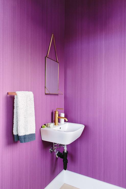Grasscloth in powder rooms contemporary bathroom marie christine design Purple and gold bathroom accessories
