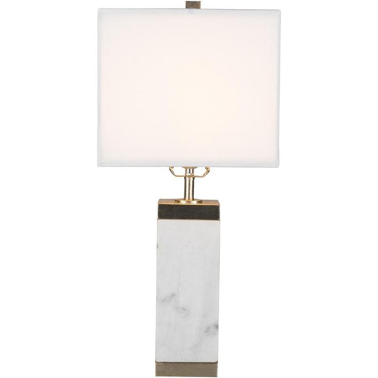 Rectangular White Marble Table Lamp, Square Marble Base Table Lamp