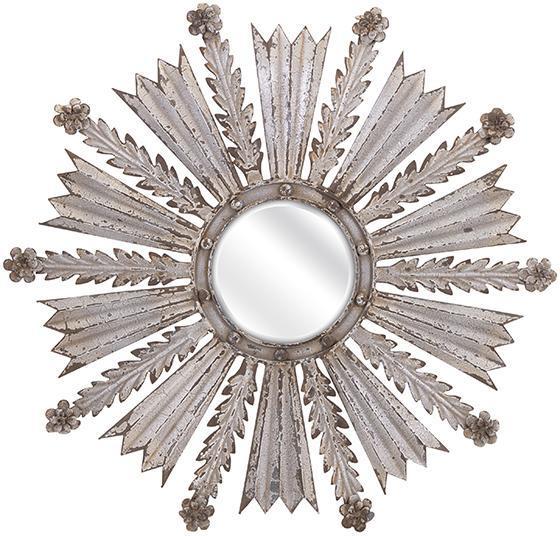 Loxley Round Silver Sunburst Mirror