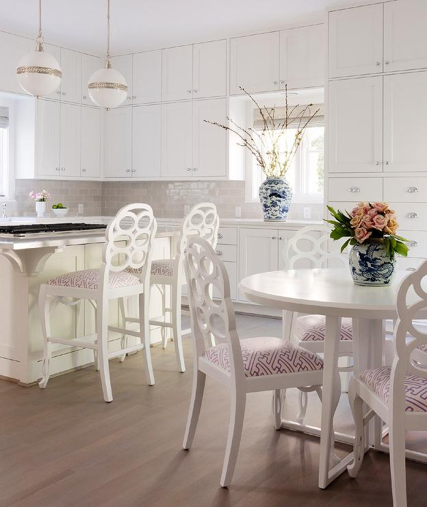 Round White Dining Table With Bungalow 5 Loop Chairs Transitional Kitchen