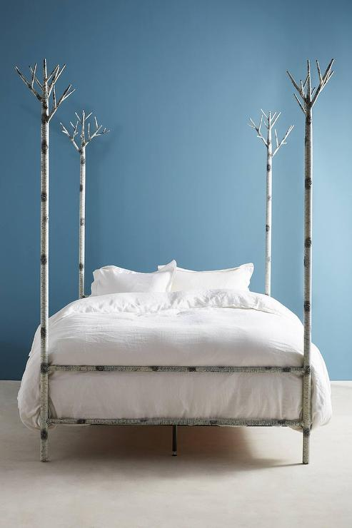 White Birch Trees Poster Bed