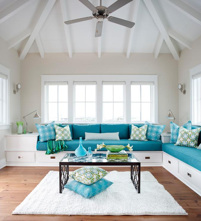 Built In Sofas With Blue Cushions Cottage Living Room
