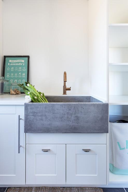 Concrete Apron Sink Cottage Laundry Room