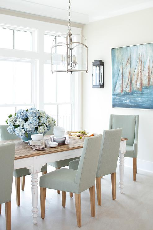Pale Blue Linen Dining Chairs With Farmhouse Table
