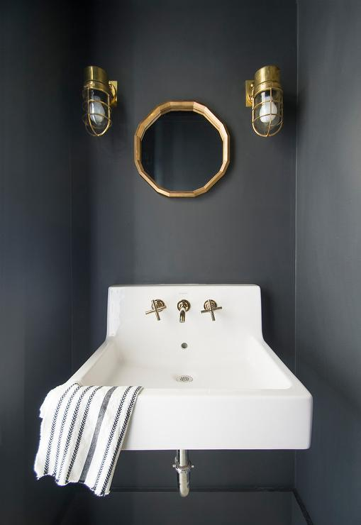Small Black Powder Room With Gold Mirror Transitional Bathroom - Matte gold bathroom fixtures