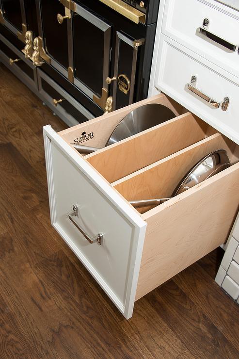 pot and pan drawer next to stove
