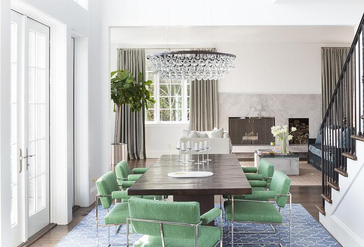 Green Dining Chairs With Blue Trellis Rug
