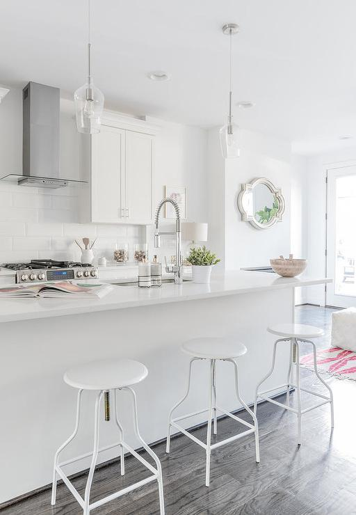 Fine White Metal Swivel Barstools Transitional Kitchen Caraccident5 Cool Chair Designs And Ideas Caraccident5Info