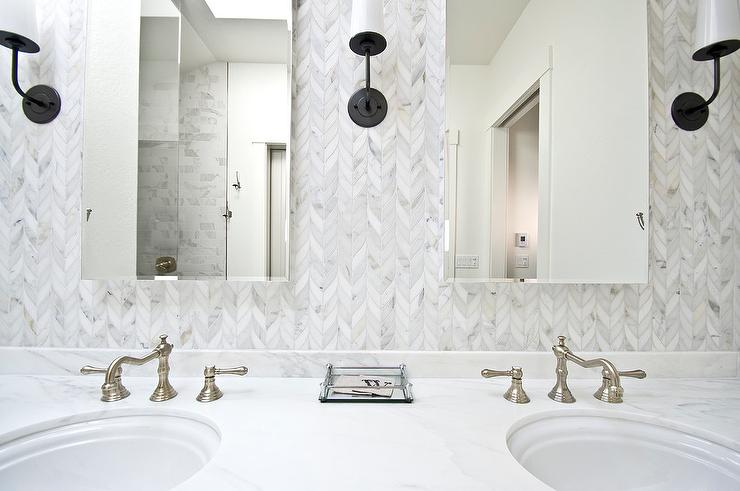 Gray Herringbone Brick Floor Tiles Transitional Bathroom