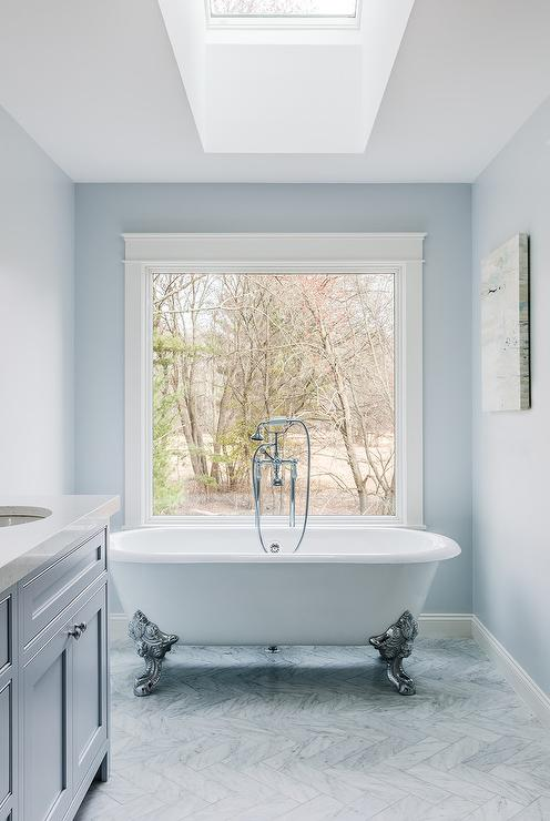 Silver Clawfoot Bathtub on Gray Marble herringbone Floor Tiles ...