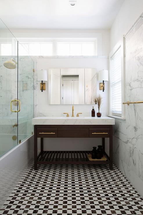Brass Cabinet Pulls Contemporary Bathroom Artistic