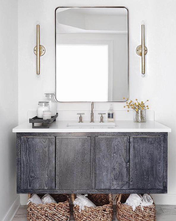 Shiplap Bathroom Vanity: Oak Sink Vanity With Shiplap Walls