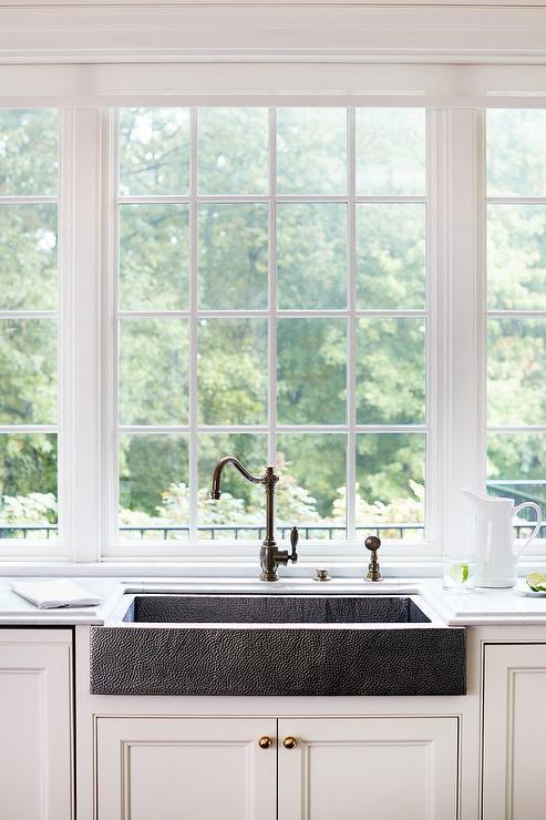 Shallow Hammered Metal Apron Sink Transitional Kitchen