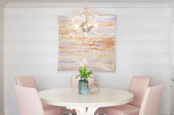 Pink Round Table.Blush Pink Dining Chairs With Round Cream Dining Table