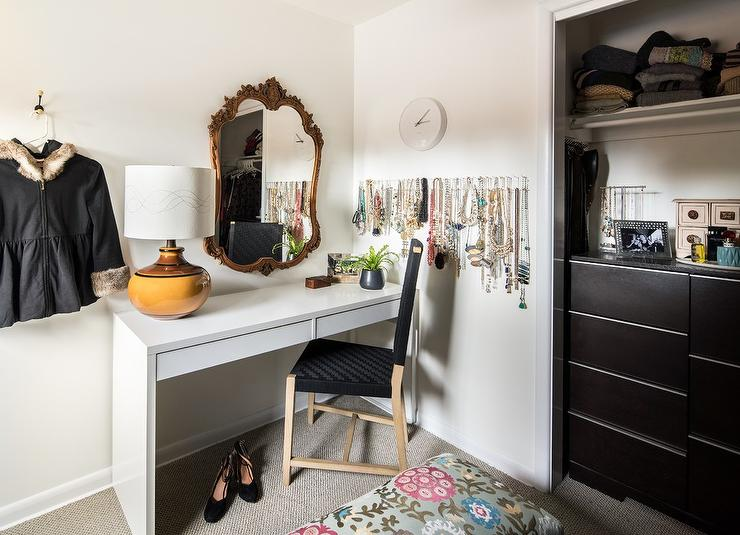 awesome a gold rococo mirror stands over a white ikea dressing table ikea malm table paired with. Black Bedroom Furniture Sets. Home Design Ideas