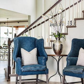 Blue Denim Wingback Chairs