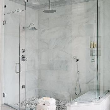 Gray Mosaic Marble Shower Floor & Staggered Marble Shower Tiles Design Ideas
