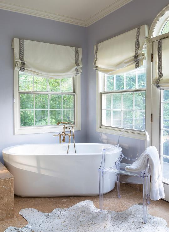 Corner Oval Bathtub with Gold Metallic Rug Transitional Bathroom