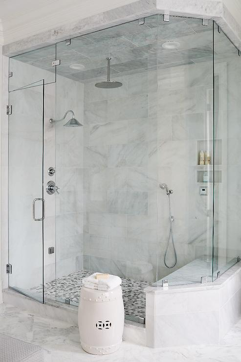 Completely new Gray Mosaic Marble Shower Floor - Transitional - Bathroom EF96