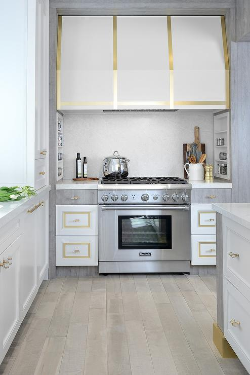 White and Gold Kitchen Vent Hood - Contemporary - Kitchen