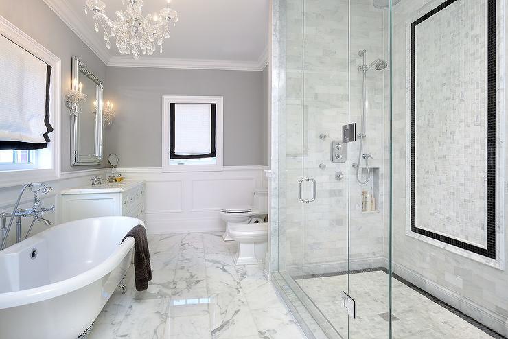 White Bathroom Border Tiles white grid shower tiles with black border tiles - transitional