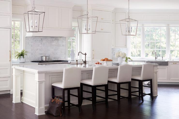 Sensational White Camelback Barstools On White Island Transitional Dailytribune Chair Design For Home Dailytribuneorg