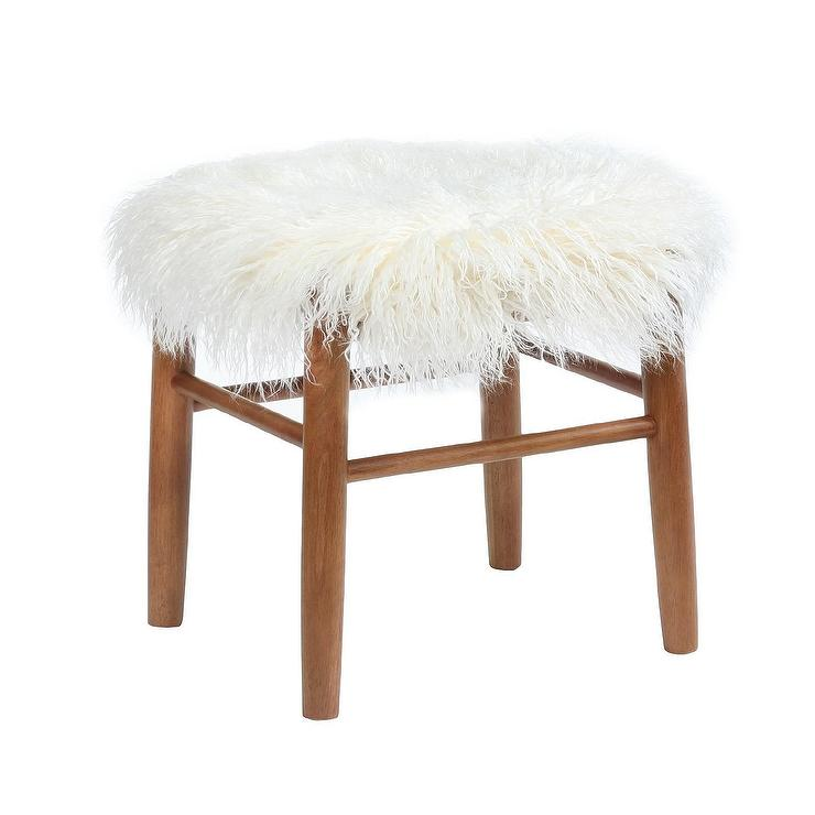 Wondrous White Faux Fur Wood Accent Stool Cjindustries Chair Design For Home Cjindustriesco
