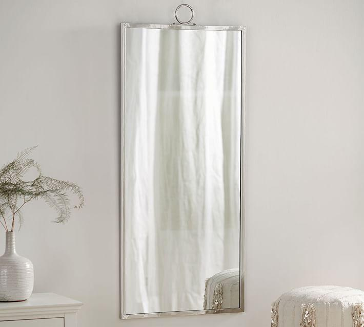 logan rectangular silver floor mirror