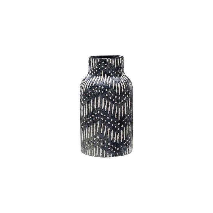 Black White Zigzag Ceramic Vase