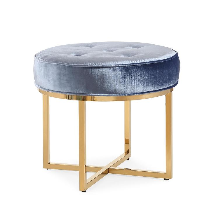 Awesome Layla Round Blue Velvet Gold Ottoman Caraccident5 Cool Chair Designs And Ideas Caraccident5Info