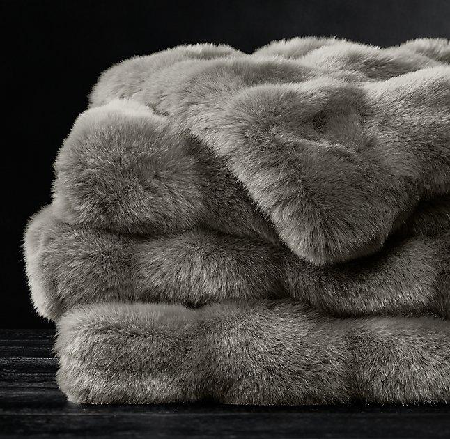 Light Gray Chevron Faux Fur Throw Blanket