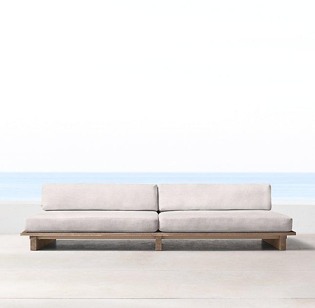 Captivating Maldives Cream Teak Platform Sofa