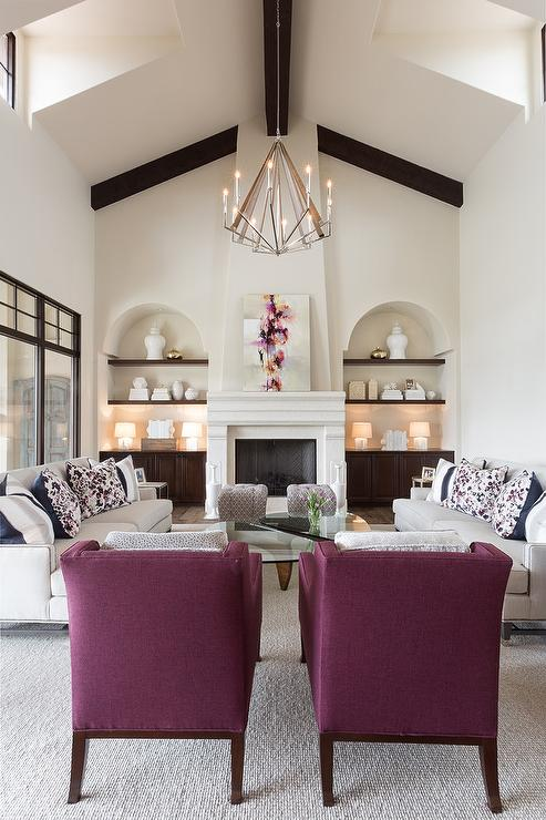 light gray sofas with purple chairs transitional