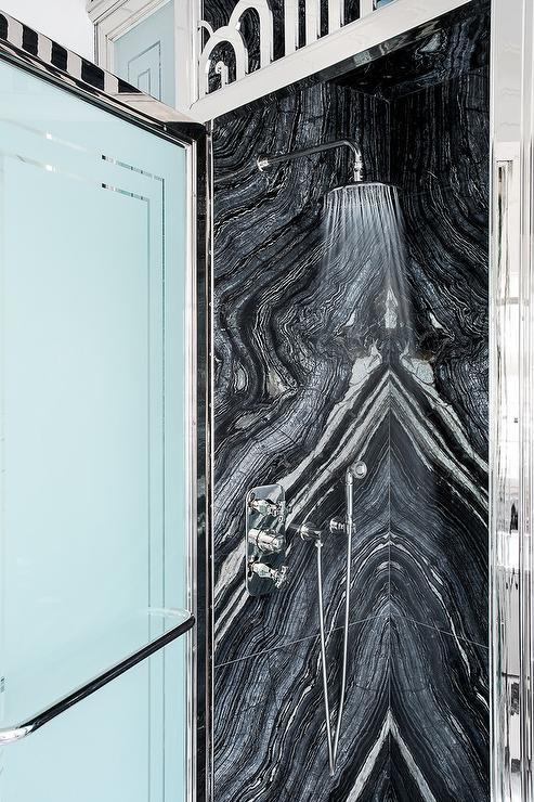 White and Black Marble Shower Tiles