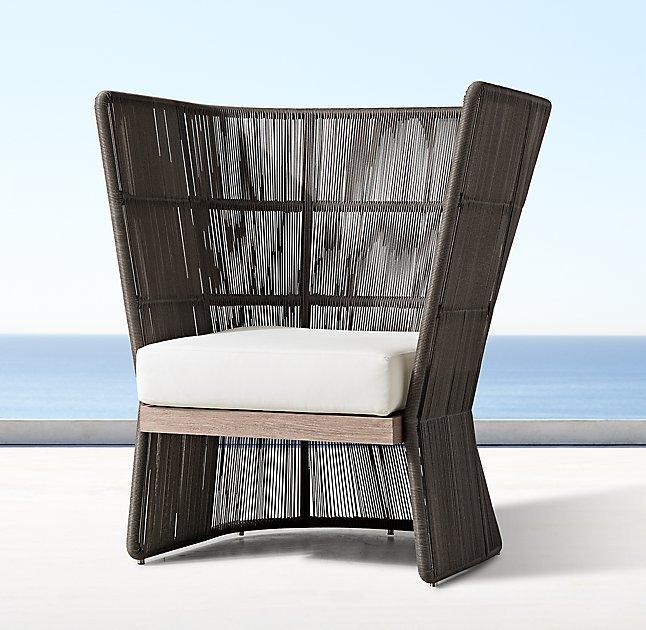 havana brown vertical wicker fan chair