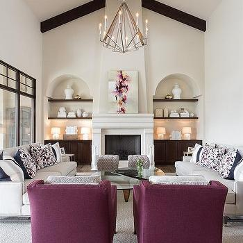 Fireplace Niches Contemporary Living Room