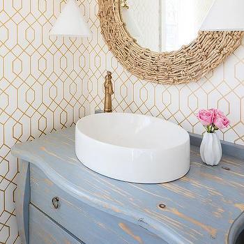 Distressed Gray Bombay Sink Vanity Design Ideas