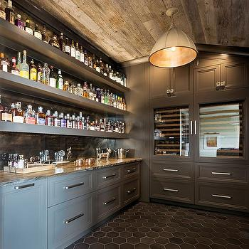 Long gray wet bar shelves design ideas dark gray bar and pantry with plank ceiling mozeypictures Gallery