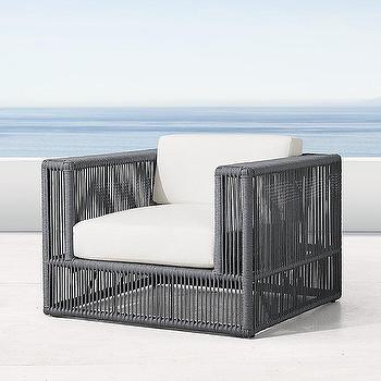 Marea Gray Herringbone Weave Lounge Chair