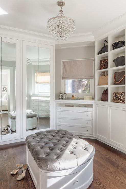 Gray Velvet Tufted Storage Bench In Walk In Closet