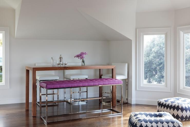 Purple Tufted Dining Bench