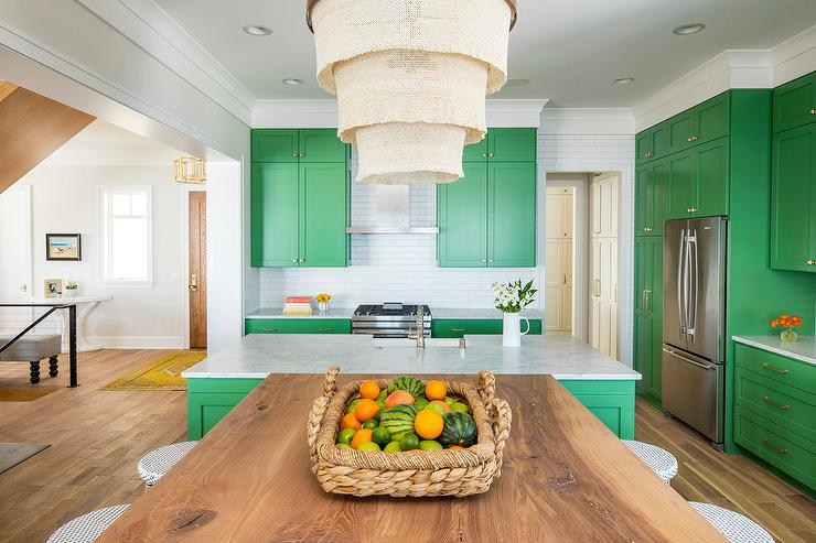 T Shaped Kitchen Island Begins With White Carerra Marble Countertops On Bunker Hill Green Cabinets Then Branches Off Into An Eat In Table Wire