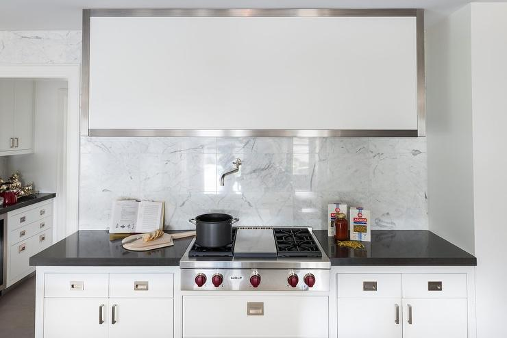Square White Marble Tile Kitchen Backsplash