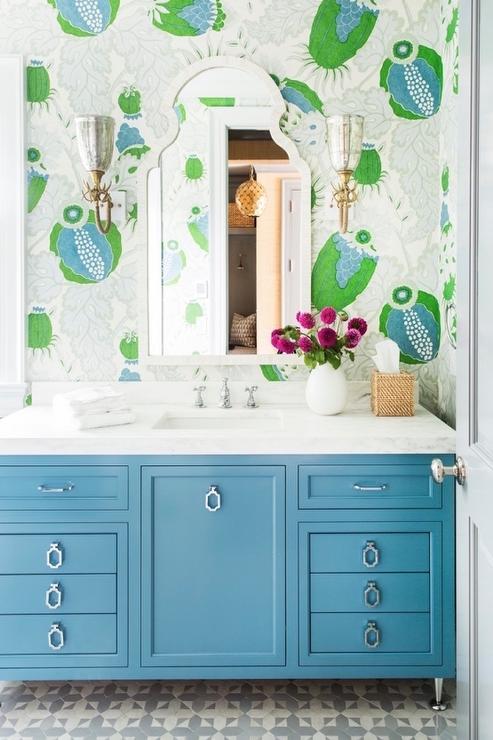 Bathroom Vanity Pulls blue bath vanity with drop pulls - transitional - bathroom